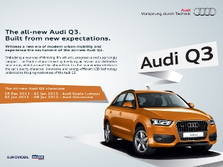 Audi Q3 comes to Malaysia for 2 weeks preview, to be launched in Q2 2012