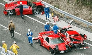 World's most expensive accident in 14 supercar pileup in Japan