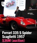 expensive car Ferrari 335 Spider Scaglietti 1957